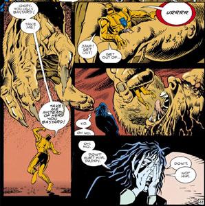 Robotman en el subterráneo combatiendo con daddy