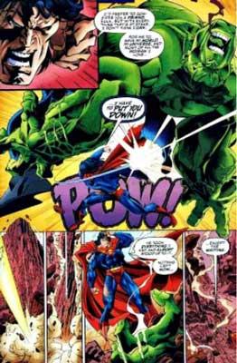 superman pelea contra hulk en el cómic marvel vs dc