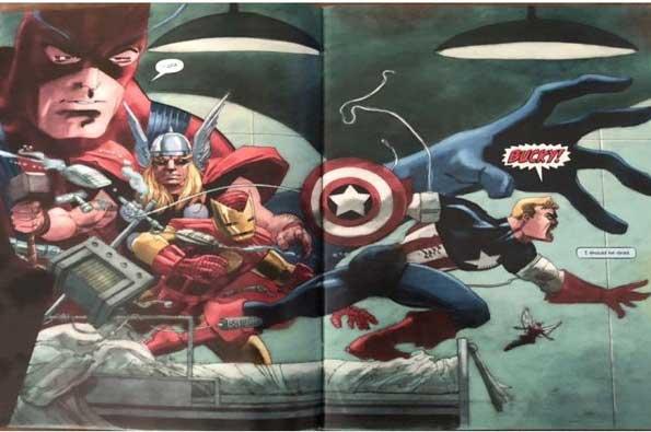 Capitán América: Blanco. En la imagen vemos al capitan america despertar luego de estar años congelado