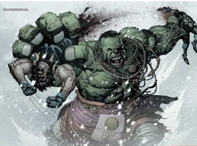 hulk partiendo a lobezno por la mitad
