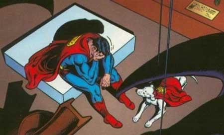 Superman triste acompañado de Krypto