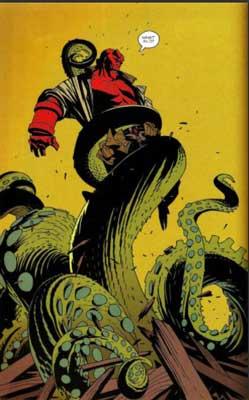 hellboy peleando contra un monstruo