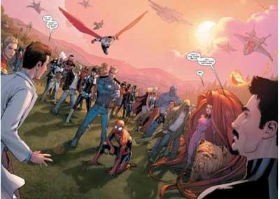 superhéroes rodeando a Bruce banner