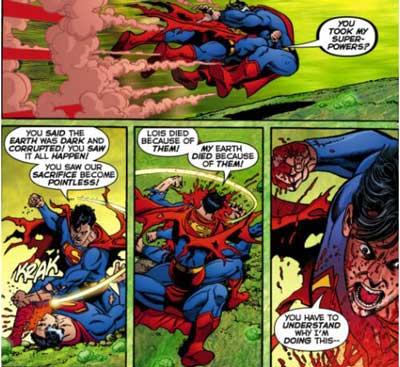 Superboy Prime vs superman tierra-2