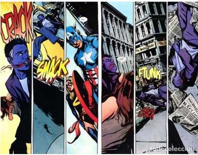 hombre purpura siendo golpeado por jessica jones en el cómic alias