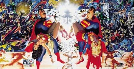 portada de crisis en tierras infinitas. Vemos a superman de tierra 1 y 2 cargando a wonder woman y supergirl heridas respectivamente