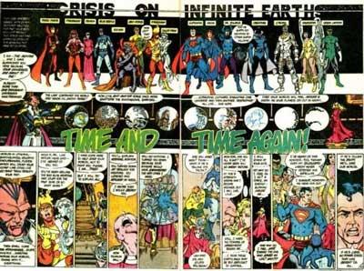 héroes y villanos reunidos en crisis en tierras infinitas