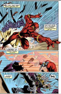Wally West peleando contra un villano