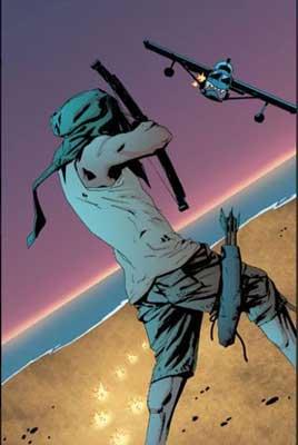 Oliver Queen disparando una flecha a una avioneta