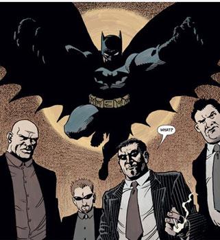 mafiosos siendo atacados por batman