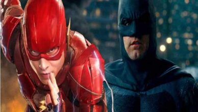ben affleck como batman y ezra miller como flash