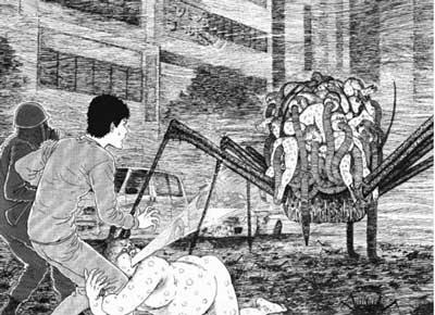 humanos sorprendidos al ver un artefacto con humanos muertos a su alrededor en el manga gyo