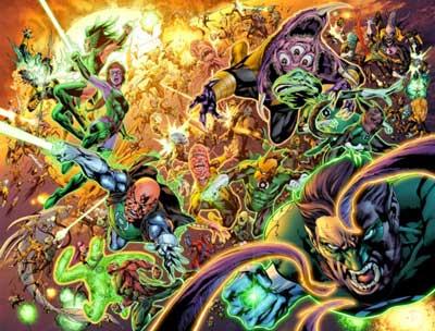 green lanterns peleando contra los sinestro corps