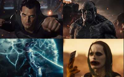 superman, batman, flash y joker en liga de la justicia de zack snyder