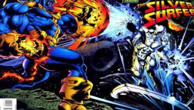 thanos vs silver surfer en Cosmic Powers Unlimited